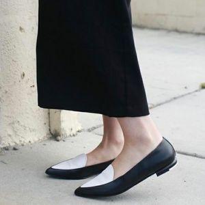 Everlane Black White Modern Point Flat Loafer Shoe